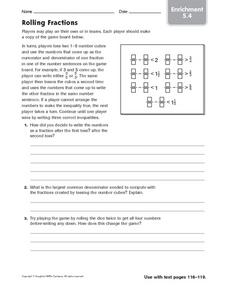Rolling Fractions - Enrichment 5.4 Worksheet