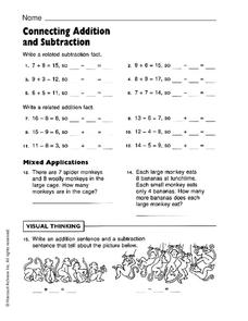 Connecting Addition and Subtraction Worksheet