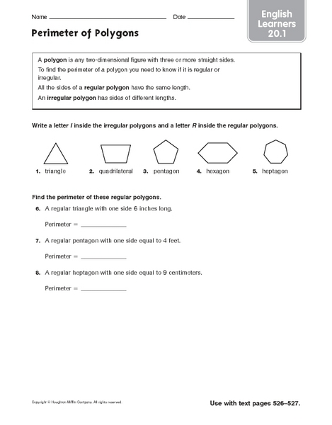 Perimeter Of Polygons For English Learners Worksheet For
