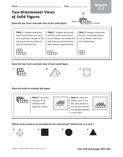 Two-Dimensional Views of Solid Figures - Reteach 21.2 Worksheet