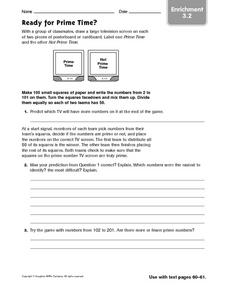 Ready for Prime Time? Enrichment Worksheet