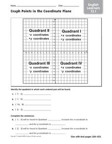 Graph Points in the Coordinate Plane: English Learners Worksheet