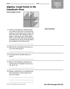 Algebra: Graph Points in the Coordinate Plane: Problem Solving Worksheet