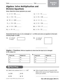 Algebra: Solve Multiplication and Division Equations - Practice 12.4 Worksheet