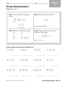 Divide Mixed Numbers - Reteach 6.5 Worksheet