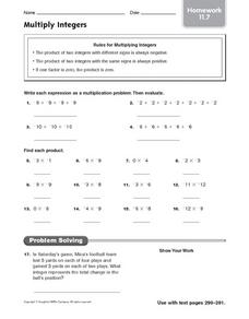 Homework: Multiply Integers Worksheet