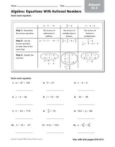 Algebra: Equations With Rational Numbers-Reteach Worksheet