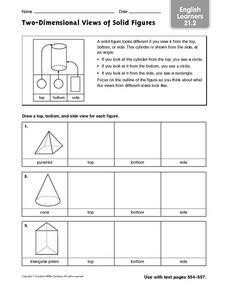 Two-Dimensional Views of Solid Figures: ELL Worksheet