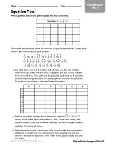 Equation Toss: Enrichment Math Game Worksheet