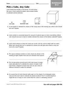 Pick a Cube, Any Cube - Enrichment 21.3 Worksheet