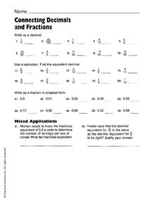 Connecting Decimals and Fractions Worksheet