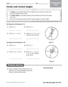Circle and Central Angles: Homework Worksheet