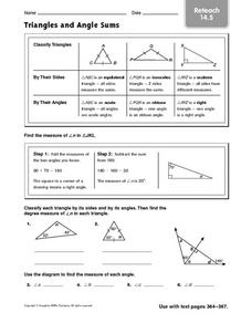 Triangles and Angle Sums: Reteach Worksheet