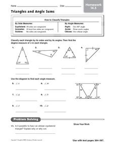 Triangles and Angle Sums - Homework 14.5 Worksheet