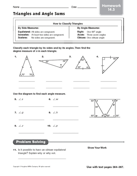 Triangles And Angle Sums Homework 14 5 Worksheet