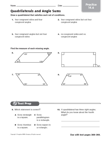 Quadrilaterals And Angle Sums Practice Worksheet For 6th