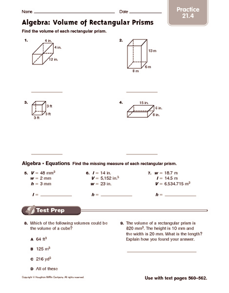 Algebra Volume Of Rectangular Prisms Practice Worksheet