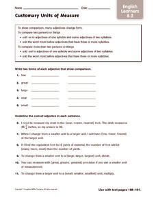 Customary Units of Measure: English Learners Worksheet