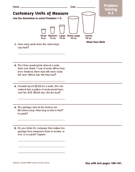Customary Units Of Measure Problem Solving Worksheet For 6th 7th