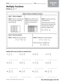 Multiply Fractions: Reteach Worksheet