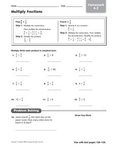 Multiply Fractions: Homework Worksheet