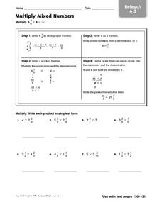 Multiply Mixed Numbers: Reteach Worksheet