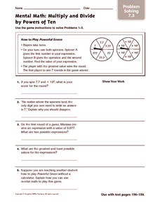 Mental Math: Multiply and Divide by Powers of Ten: Problem Solving Worksheet