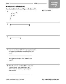 Construct Bisectors: Problem Solving Worksheet