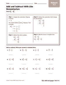 Add and Subtract with Like Denominators: Reteach Worksheet