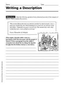 Writing a Description Worksheet