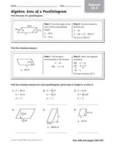 algebra area of a parallelogram reteach 20 4 worksheet for 6th 8th grade lesson planet. Black Bedroom Furniture Sets. Home Design Ideas