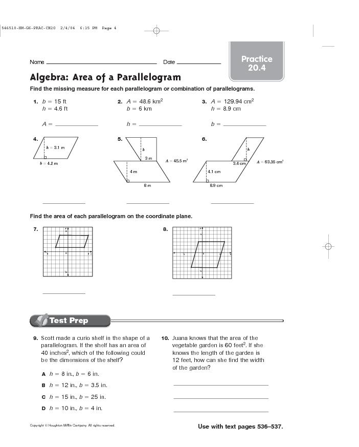 parallelogram area worksheet Termolak – Parallelogram Worksheets