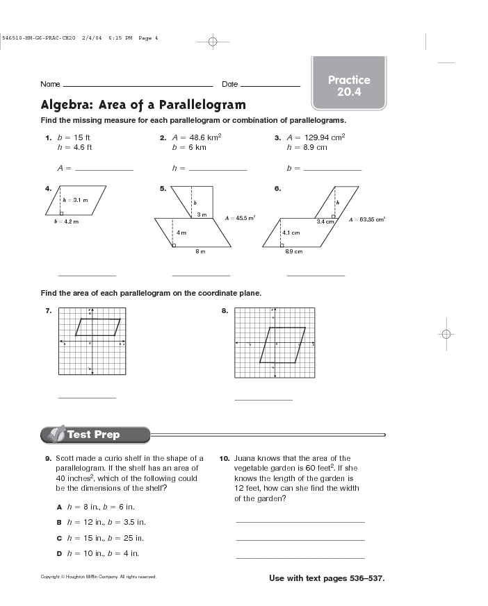 Area Of A Parallelogram Practice Worksheet: Area Of A Parallelogram Worksheet   Delibertad,