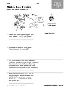 Algebra: Scale Drawing - Problem Solving 16.6 Worksheet for 4th ...