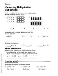 Connecting Multiplication and Division Worksheet