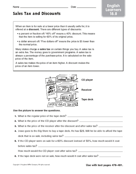 Sales Tax and Discounts: English Learners Worksheet