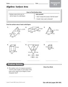 Algebra: Surface Area homework 21.5 Worksheet