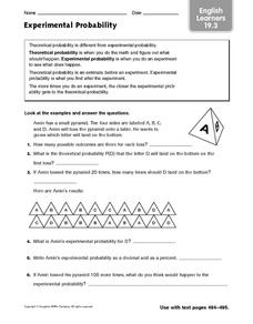Experimental Probability (English Learners 19.3) Worksheet