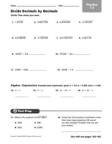 Divide Decimals by Decimals - Practice 7.5 Worksheet