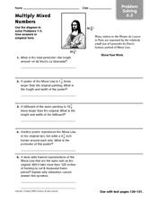 Multiply Mixed Numbers - Problem Solving Worksheet