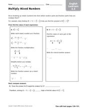 Multiply Mixed Numbers - English Language Learners Worksheet
