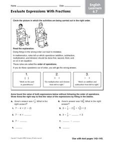 Evaluate Expressions with Fractions: English Learners Worksheet