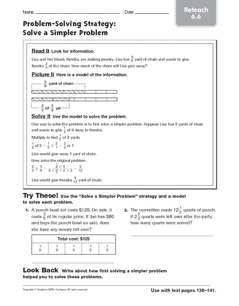 Problem Solving Strategy: Solve a Simpler Problem - Reteach 6.6 Worksheet