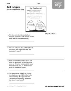 Add Integers - Problem Solving 11.4 Worksheet