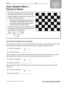 Find a Number When Percent is Shown: English Learners Worksheet