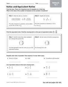 Ratios and Equivalent Ratios: Reteach Worksheet