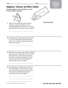 algebra volume of other solids problem solving 21 6 worksheet for 6th 8th grade lesson planet. Black Bedroom Furniture Sets. Home Design Ideas