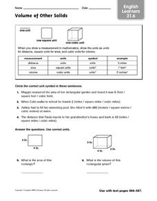 Volume of Other Solids - English Learners 21.6 Worksheet