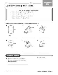 Algebra: Volume of Other Solids: Homework Worksheet