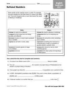 English Learners: Rational Numbers Worksheet